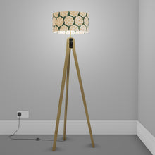Oak Tripod Floor Lamp - P19 - Batik Big Flower on Green