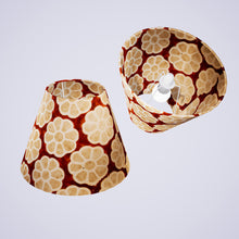 Conical Lamp Shade P20 - Batik Big Flower on Brown, 15cm(top) x 30cm(bottom) x 22cm(height)