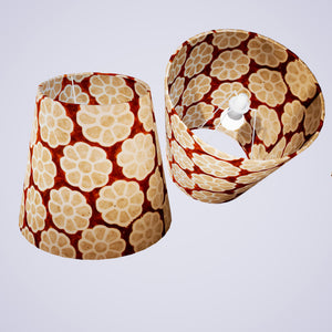 Conical Lamp Shade P20 - Batik Big Flower on Brown, 23cm(top) x 35cm(bottom) x 31cm(height)