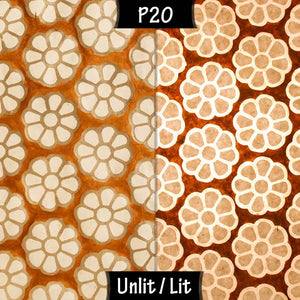 Oval Lamp Shade - P20 - Batik Big Flower on Brown, 30cm(w) x 20cm(h) x 22cm(d)