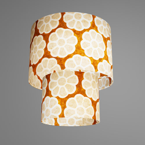 2 Tier Lamp Shade - P20 - Batik Big Flower on Brown, 30cm x 20cm & 20cm x 15cm