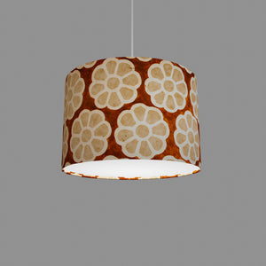 Drum Lamp Shade - P20 - Batik Big Flower on Brown, 30cm(d) x 20cm(h)