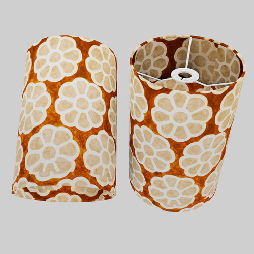 Drum Lamp Shade - P20 - Batik Big Flower on Brown, 20cm(d) x 30cm(h)