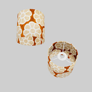 Drum Lamp Shade - P20 - Batik Big Flower on Brown, 15cm(d) x 15cm(h)
