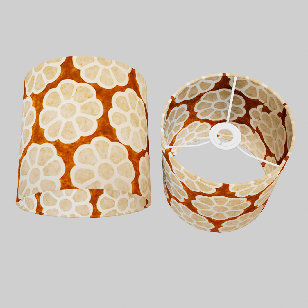 Drum Lamp Shade - P20 - Batik Big Flower on Brown, 20cm(d) x 20cm(h)