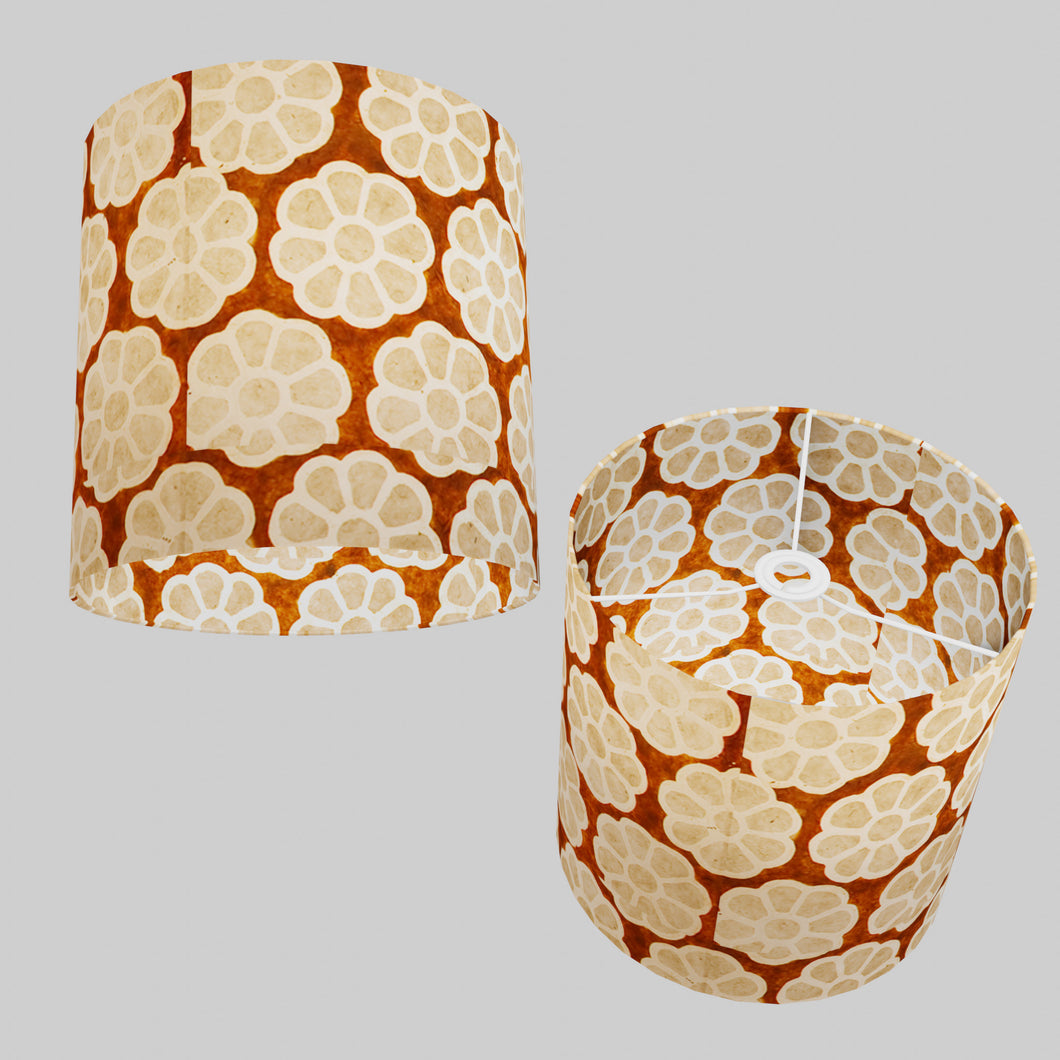 Drum Lamp Shade - P20 - Batik Big Flower on Brown, 30cm(d) x 30cm(h)