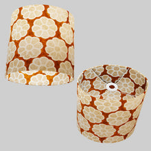 Oval Lamp Shade - P20 - Batik Big Flower on Brown, 30cm(w) x 30cm(h) x 22cm(d)