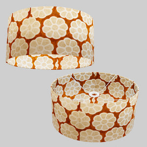 Oval Lamp Shade - P20 - Batik Big Flower on Brown, 40cm(w) x 20cm(h) x 30cm(d)