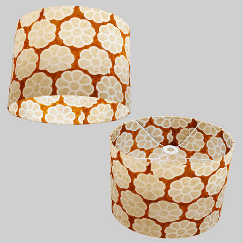 Oval Lamp Shade - P20 - Batik Big Flower on Brown, 40cm(w) x 30cm(h) x 30cm(d)