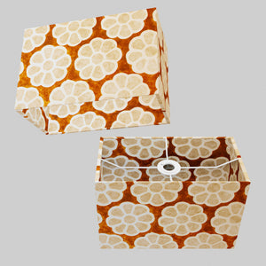 Rectangle Lamp Shade - P20 - Batik Big Flower on Brown, 30cm(w) x 20cm(h) x 15cm(d)