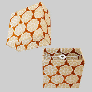 Rectangle Lamp Shade - P20 - Batik Big Flower on Brown, 30cm(w) x 30cm(h) x 15cm(d)