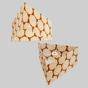 Triangle Lamp Shade - P20 - Batik Big Flower on Brown, 40cm(w) x 20cm(h)