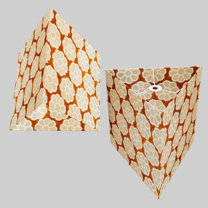 Triangle Lamp Shade - P20 - Batik Big Flower on Brown, 40cm(w) x 40cm(h)