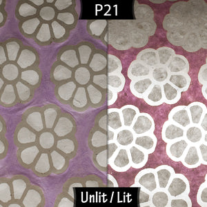 Oval Lamp Shade - P21 - Batik Big Flower on Lilac, 20cm(w) x 20cm(h) x 13cm(d)