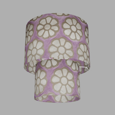 2 Tier Lamp Shade - P21 - Batik Big Flower on Lilac, 30cm x 20cm & 20cm x 15cm