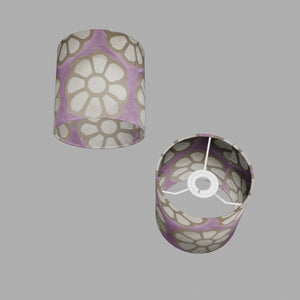 Drum Lamp Shade - P21 - Batik Big Flower on Lilac, 15cm(d) x 15cm(h)