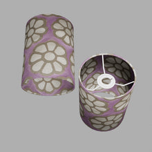 Drum Lamp Shade - P21 - Batik Big Flower on Lilac, 15cm(d) x 20cm(h)