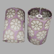 Drum Lamp Shade - P21 - Batik Big Flower on Lilac, 20cm(d) x 30cm(h)
