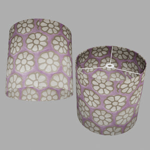 Drum Lamp Shade - P21 - Batik Big Flower on Lilac, 40cm(d) x 40cm(h)