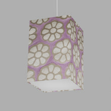 Square Lamp Shade - P21 - Batik Big Flower on Lilac, 20cm(w) x 30cm(h) x 20cm(d)
