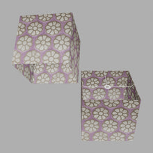 Square Lamp Shade - P21 - Batik Big Flower on Lilac, 40cm(w) x 40cm(h) x 40cm(d)
