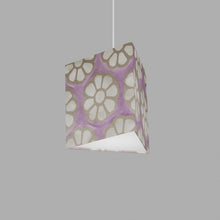 Triangle Lamp Shade - P21 - Batik Big Flower on Lilac, 20cm(w) x 20cm(h)