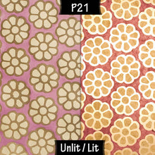 Oak Tripod Floor Lamp - P21 - Batik Big Flower on Lilac