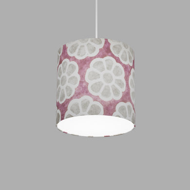 Drum Lamp Shade - P21 - Batik Big Flower on Lilac, 20cm(d) x 20cm(h)
