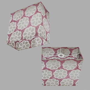 Rectangle Lamp Shade - P21 - Batik Big Flower on Lilac, 30cm(w) x 30cm(h) x 15cm(d)