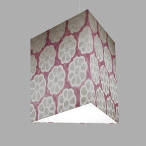Triangle Lamp Shade - P21 - Batik Big Flower on Lilac, 40cm(w) x 40cm(h)