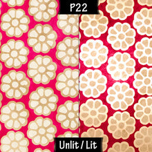 Drum Lamp Shade - P22 - Batik Big Flower on Hot Pink, 15cm(d) x 15cm(h) - Imbue Lighting