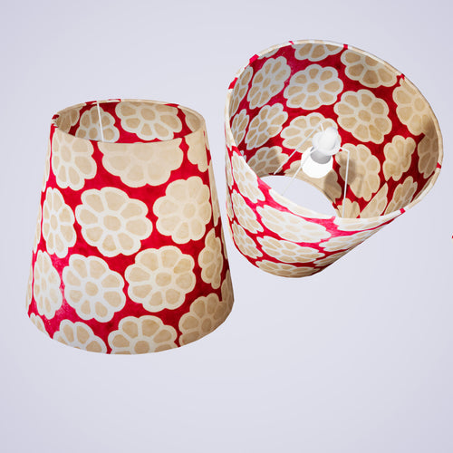 Conical Lamp Shade P22 - Batik Big Flower on Hot Pink, 23cm(top) x 35cm(bottom) x 31cm(height)