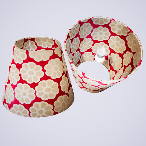 Conical Lamp Shade P22 - Batik Big Flower on Hot Pink, 23cm(top) x 40cm(bottom) x 31cm(height)