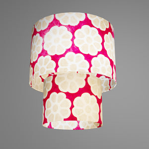 2 Tier Lamp Shade - P22 - Batik Big Flower on Hot Pink, 30cm x 20cm & 20cm x 15cm