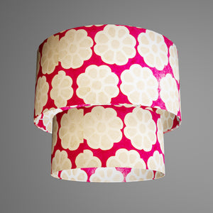 2 Tier Lamp Shade - P22 - Batik Big Flower on Hot Pink, 40cm x 20cm & 30cm x 15cm