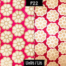 Oval Lamp Shade - P22 - Batik Big Flower on Hot Pink, 20cm(w) x 20cm(h) x 13cm(d)