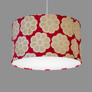 Drum Lamp Shade - P22 - Batik Big Flower on Hot Pink, 35cm(d) x 20cm(h)