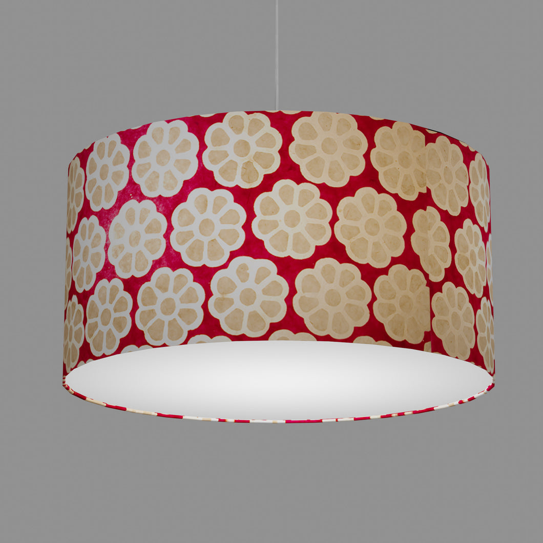 Drum Lamp Shade - P22 - Batik Big Flower on Hot Pink, 60cm(d) x 30cm(h)