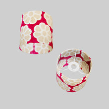 Drum Lamp Shade - P22 - Batik Big Flower on Hot Pink, 15cm(d) x 15cm(h)