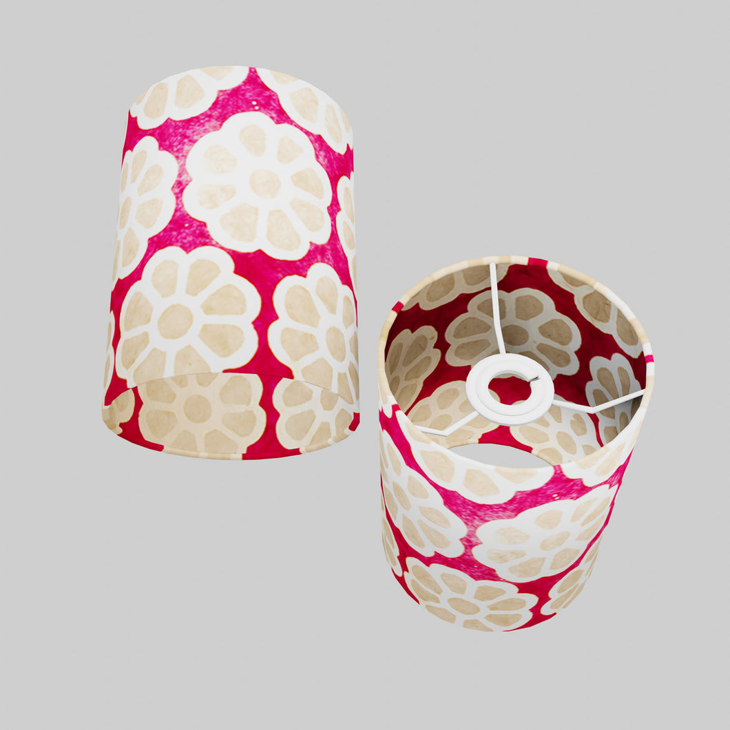 Drum Lamp Shade - P22 - Batik Big Flower on Hot Pink, 15cm(d) x 20cm(h)