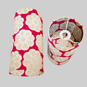 Drum Lamp Shade - P22 - Batik Big Flower on Hot Pink, 15cm(d) x 30cm(h)