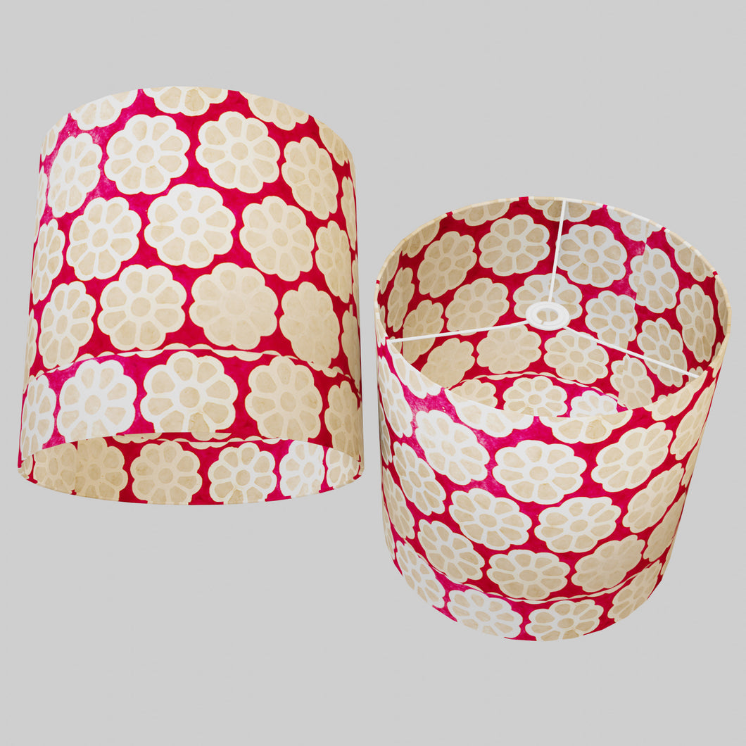 Drum Lamp Shade - P22 - Batik Big Flower on Hot Pink, 40cm(d) x 40cm(h)