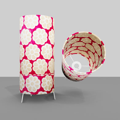 Free Standing Table Lamp Small - P22 ~ Batik Big Flower on Hot Pink
