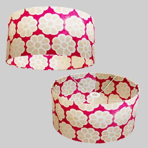 Oval Lamp Shade - P22 - Batik Big Flower on Hot Pink, 40cm(w) x 20cm(h) x 30cm(d)