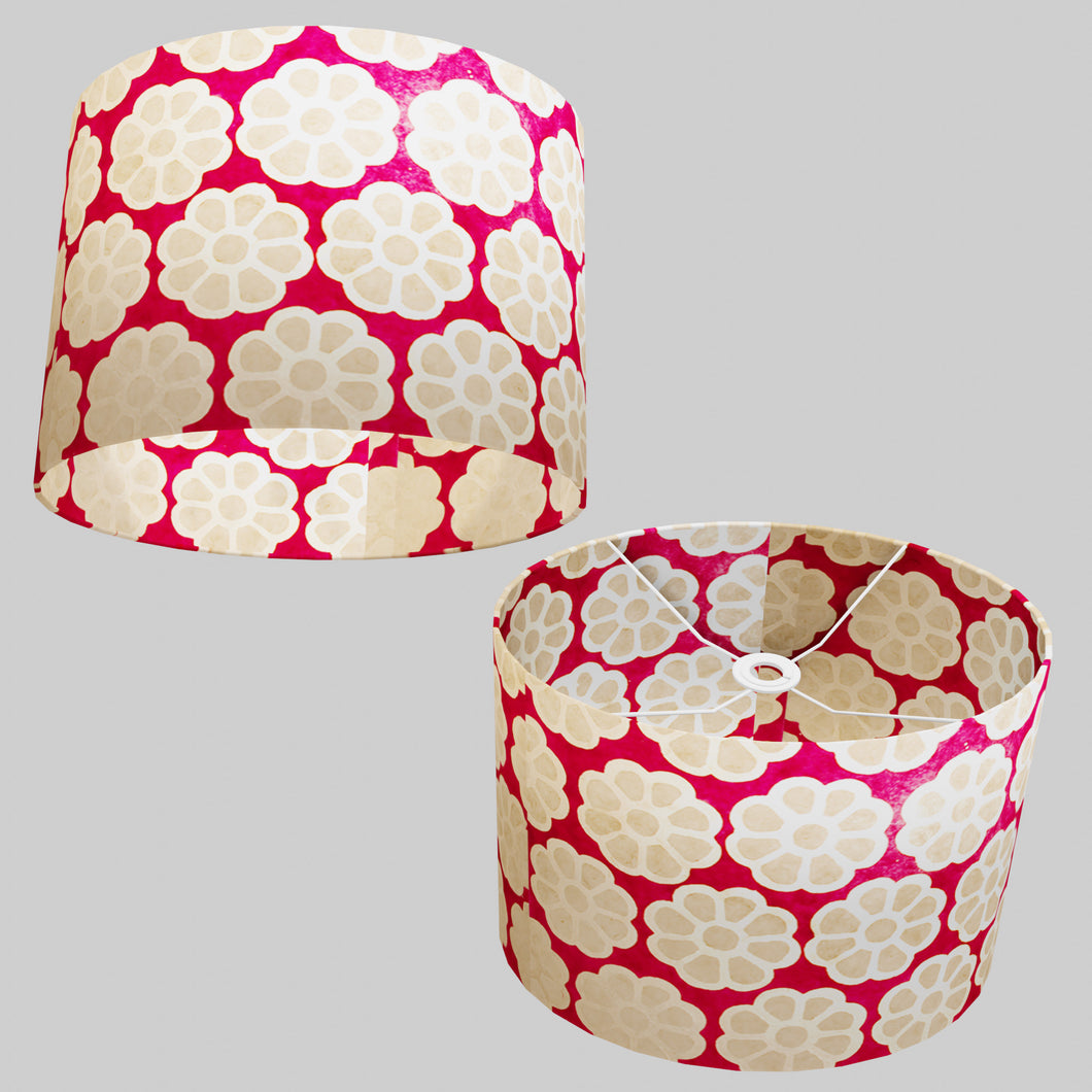 Oval Lamp Shade - P22 - Batik Big Flower on Hot Pink, 40cm(w) x 30cm(h) x 30cm(d)