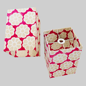 Square Lamp Shade - P22 - Batik Big Flower on Hot Pink, 20cm(w) x 30cm(h) x 20cm(d)