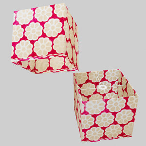 Square Lamp Shade - P22 - Batik Big Flower on Hot Pink, 30cm(w) x 30cm(h) x 30cm(d)