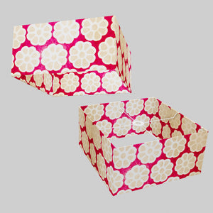 Square Lamp Shade - P22 - Batik Big Flower on Hot Pink, 40cm(w) x 20cm(h) x 40cm(d)