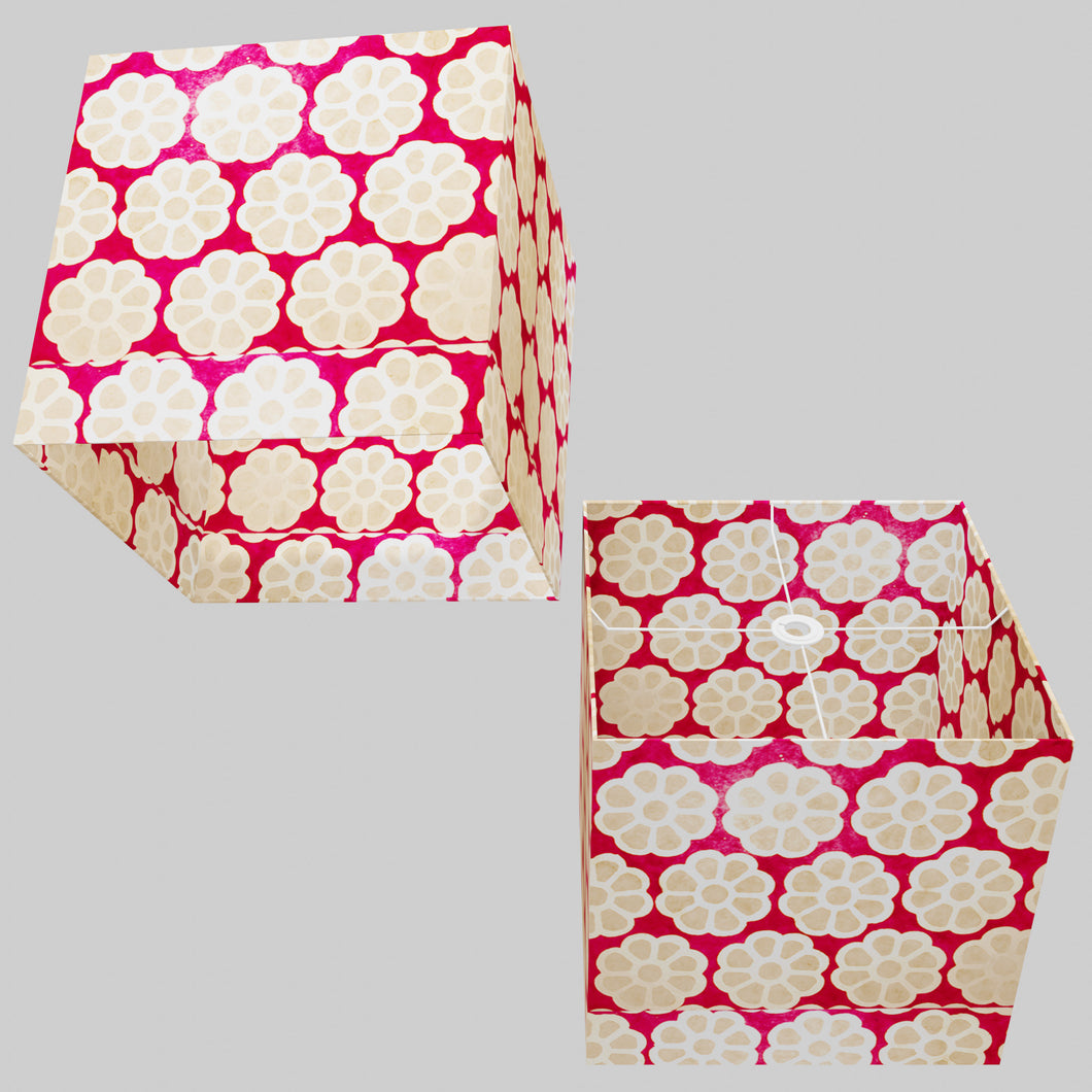 Square Lamp Shade - P22 - Batik Big Flower on Hot Pink, 40cm(w) x 40cm(h) x 40cm(d)