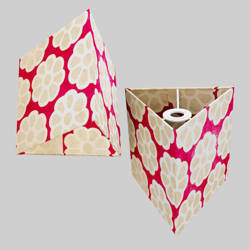 Triangle Lamp Shade - P22 - Batik Big Flower on Hot Pink, 20cm(w) x 20cm(h)